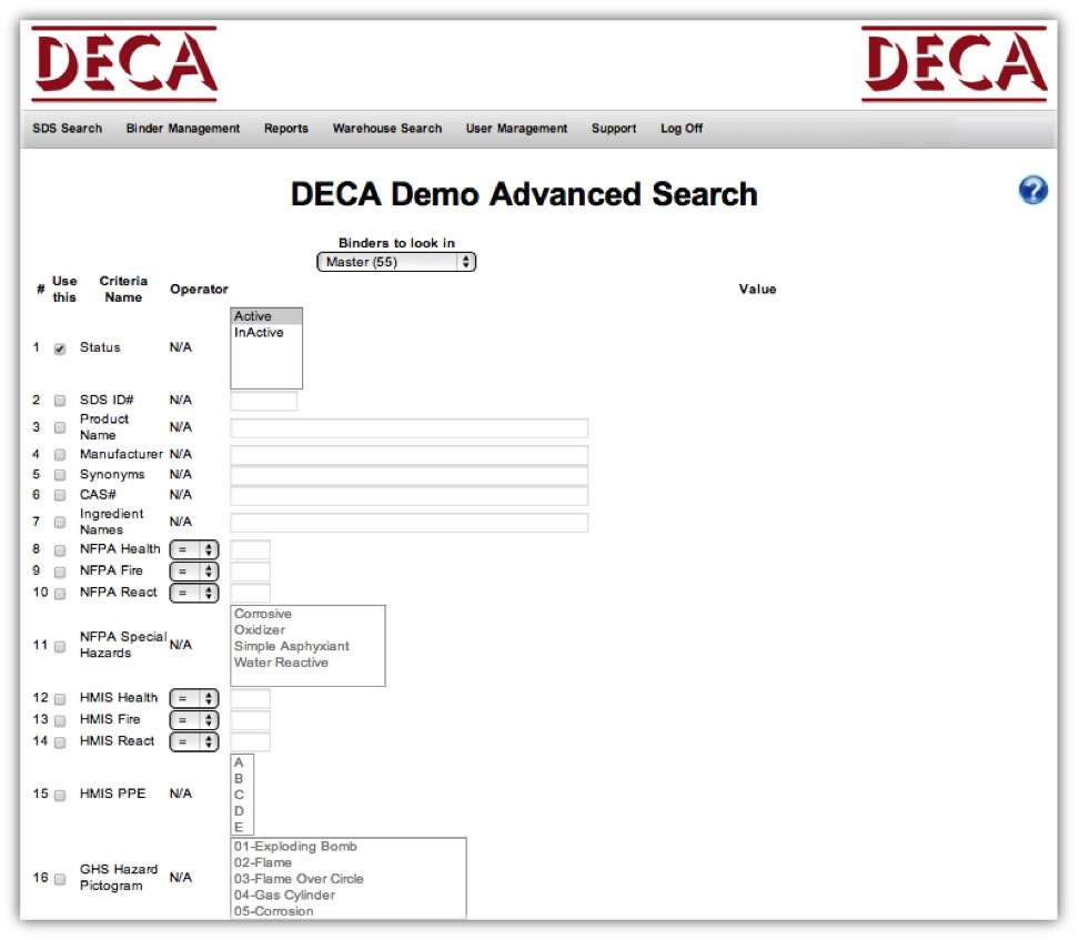 Online MSDS Advanced Search