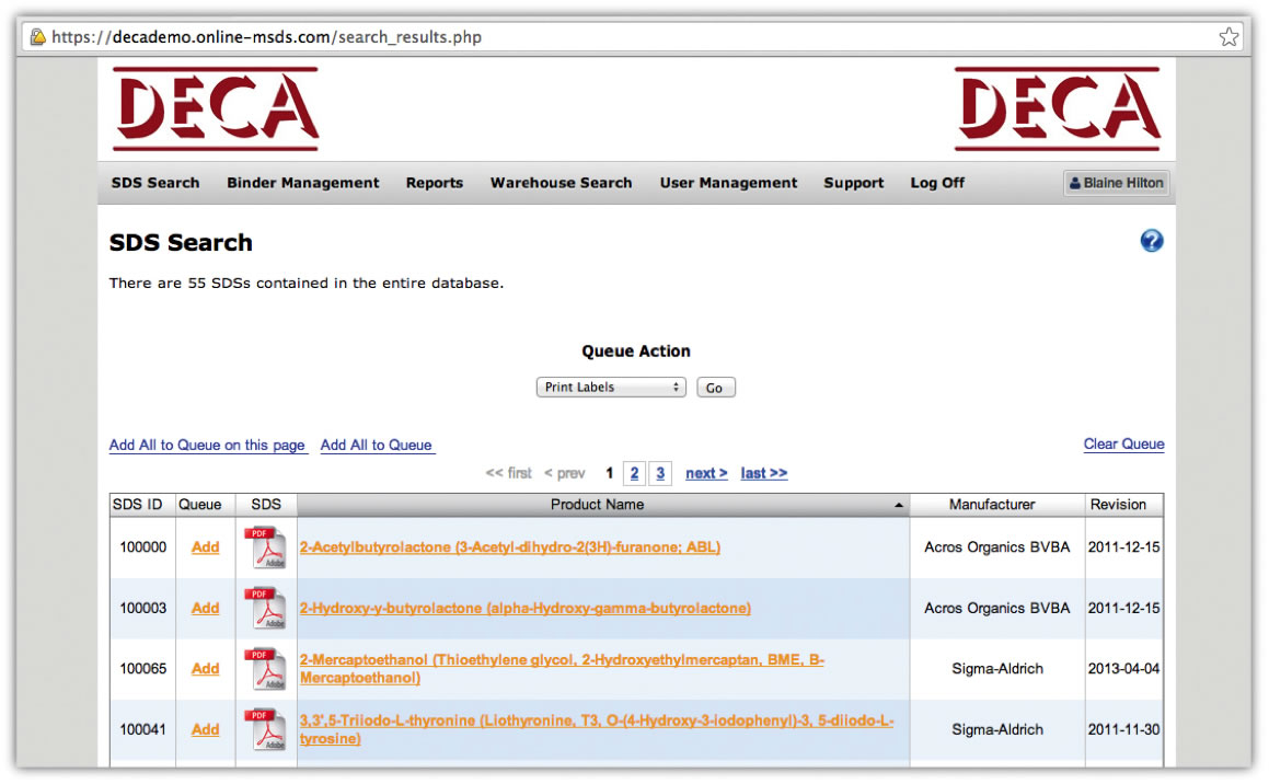Online MSDS - View Search Results